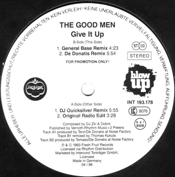 Cover The Good Men - Give It Up (12, Promo) Schallplatten Ankauf