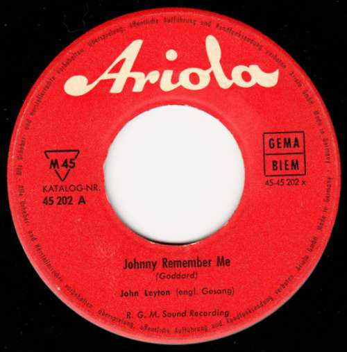 Cover John Leyton - Johnny Remember Me / There Must Be (7, Single) Schallplatten Ankauf