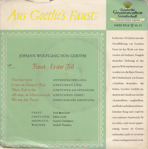 Cover Johann Wolfgang von Goethe - Aus Goethe's Faust (7, EP, Mono) Schallplatten Ankauf