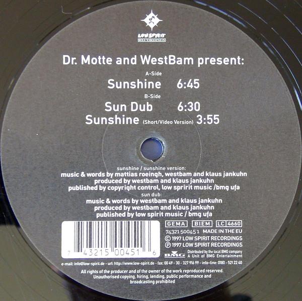 Cover Dr. Motte And WestBam* - Sunshine (12, M/Print) Schallplatten Ankauf