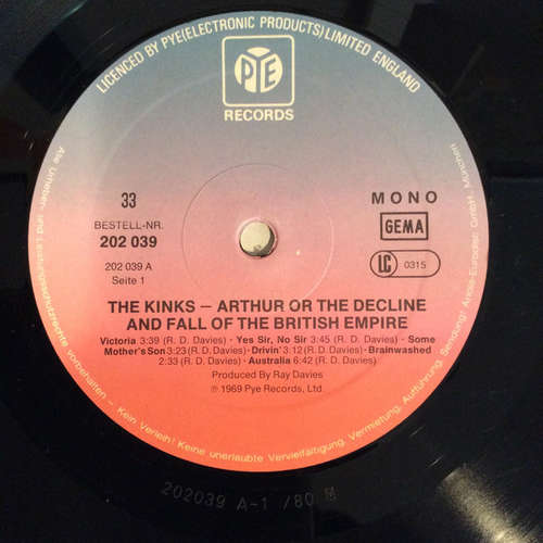 Cover The Kinks - Arthur Or The Decline And Fall Of The British Empire (LP, Album, Mono, RE) Schallplatten Ankauf