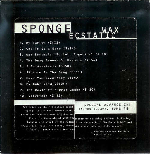 Cover Sponge (3) - Wax Ecstatic (CD, Album, Promo) Schallplatten Ankauf