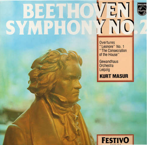 Cover zu Kurt Masur, Gewandhausorchester Leipzig - Beethoven Symphony No. 2 - Overtures Leonore No.1 - Consecration of the House (LP, RE) Schallplatten Ankauf