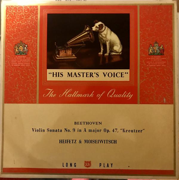 Cover Beethoven* - Heifetz* & Moiseiwitsch* - Violin Sonata No. 9 In A Major, Op. 47, Kreutzer (LP, Album) Schallplatten Ankauf