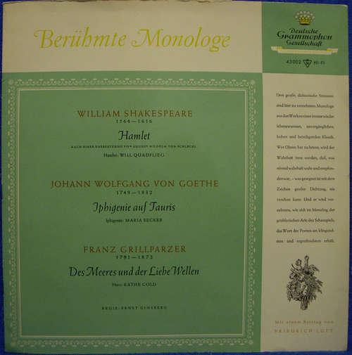 Cover William Shakespeare, Johann Wolfgang von Goethe, Franz Grillparzer, Will Quadflieg, Maria Becker, Käthe Gold - Berühmte Monologe (LP, Comp, Mono) Schallplatten Ankauf