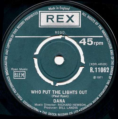 Cover Dana (9) - Who Put The Lights Out (7, Single) Schallplatten Ankauf