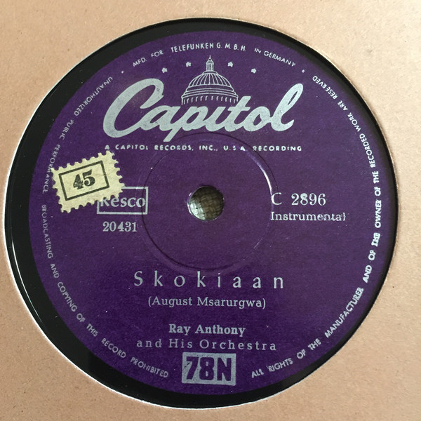 Cover Ray Anthony And His Orchestra* - Skokiaan / Say Hey (Shellac, 10) Schallplatten Ankauf