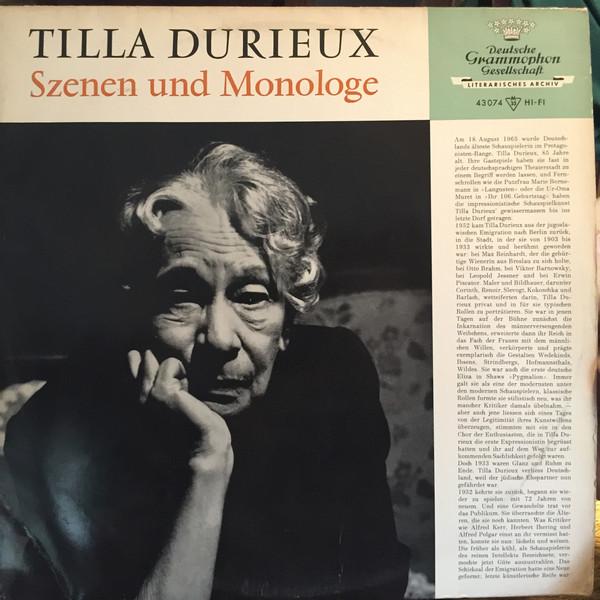 Cover Tilla Durieux - Szenen Und Monologe (LP) Schallplatten Ankauf