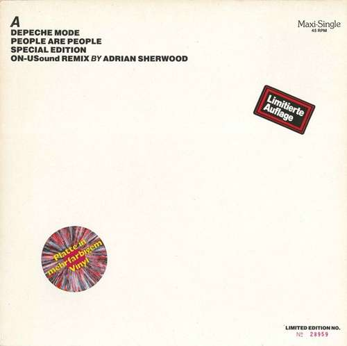 Cover Depeche Mode - People Are People (ON-USound Remix By Adrian Sherwood) (12, Maxi, Ltd, Num, S/Edition, Red) Schallplatten Ankauf