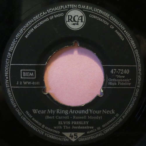 Cover Elvis Presley With The Jordanaires - Wear My Ring Around Your Neck (7, Single) Schallplatten Ankauf