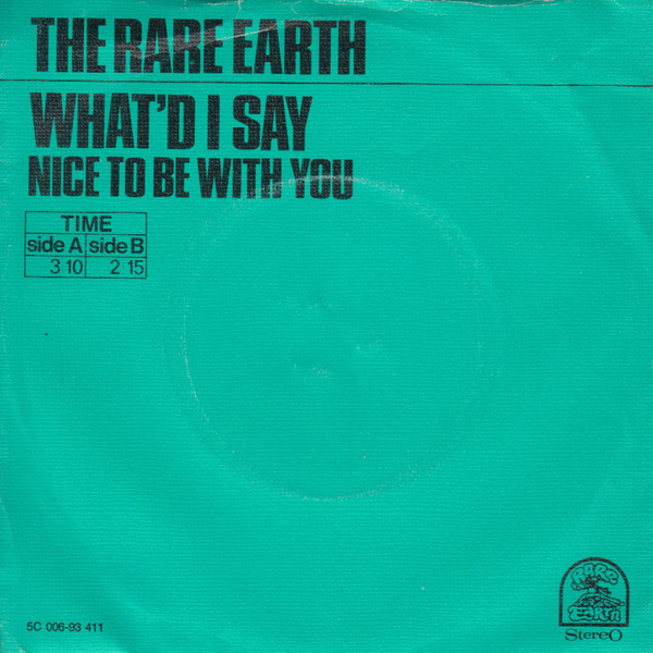 Cover zu Rare Earth - What'd I Say  (7, Single) Schallplatten Ankauf