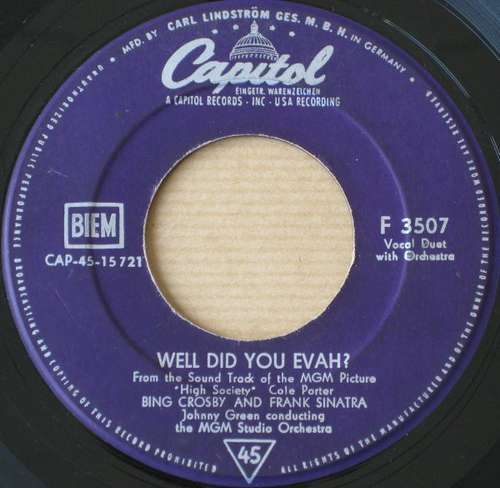 Cover Bing Crosby - Well Did You Evah? / True Love (7, Single, RE) Schallplatten Ankauf