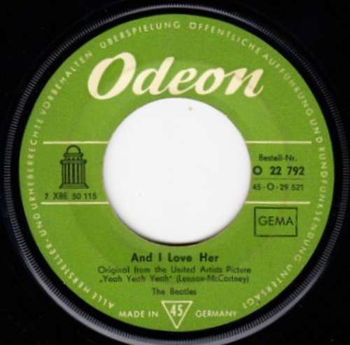Cover The Beatles - And I Love Her (7, Single) Schallplatten Ankauf