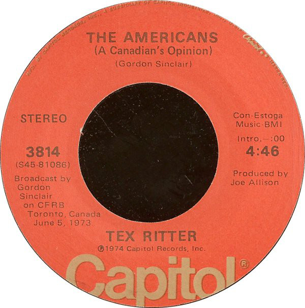 Cover Tex Ritter - The Americans (A Canadian's Opinion) (7, Single) Schallplatten Ankauf