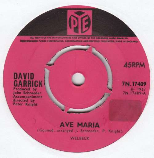 Cover zu David Garrick - Ave Maria (7, Single) Schallplatten Ankauf