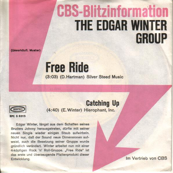 Cover The Edgar Winter Group - Free Ride (7, Single, Promo) Schallplatten Ankauf