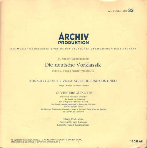 Bild Georg Philipp Telemann - Ulrich Koch, Festival Strings Lucerne, Rudolf Baumgartner - Konzert G-dur Für Viola, Streicher Und Continuo / Ouverture Quixotte (10, Mono) Schallplatten Ankauf