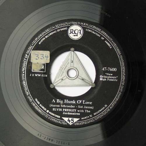 Cover Elvis Presley With The Jordanaires - A Big Hunk O' Love (7, Single) Schallplatten Ankauf