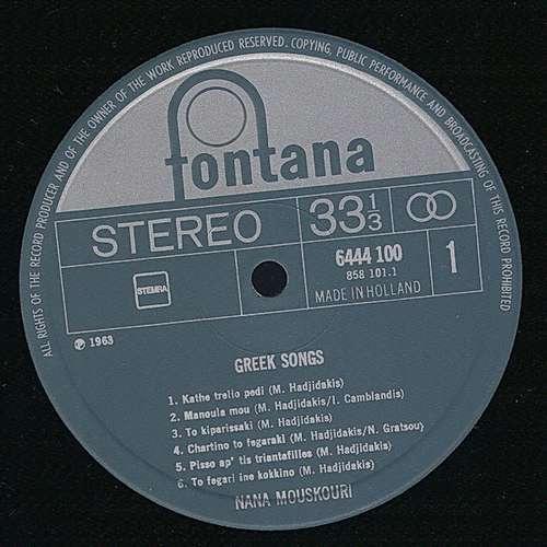 Cover Nana Mouskouri - Greek Songs By Theodorakis And Hadjidakis (LP, Album) Schallplatten Ankauf