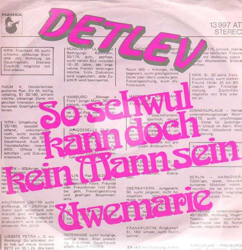 Cover Detlev - So Schwul Kann Doch Kein Mann Sein / Uwemarie (7, Single) Schallplatten Ankauf