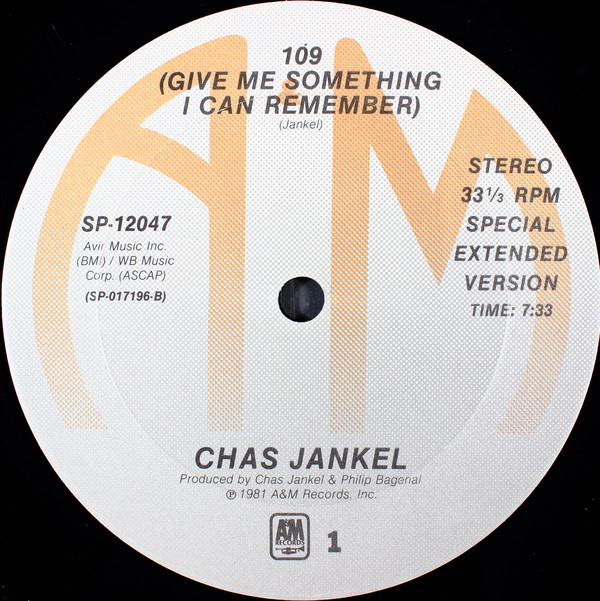Bild Chas Jankel - 109 (Give Me Something I Can Remember) (12) Schallplatten Ankauf