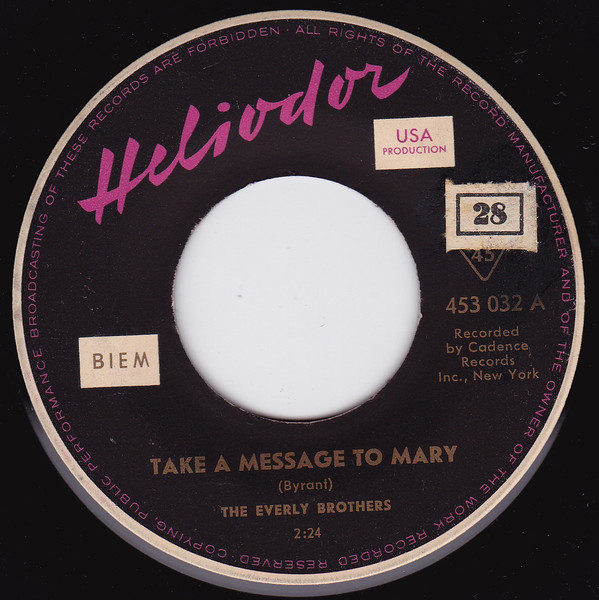 Bild The Everly Brothers* - Take A Message To Mary (7, Single) Schallplatten Ankauf