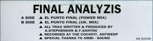 Cover Final Analyzis - El Punto Final (12, Gre) Schallplatten Ankauf