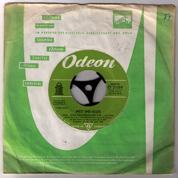 Cover Louis Armstrong & His Hot Five - West End Blues / Squeeze Me (7) Schallplatten Ankauf