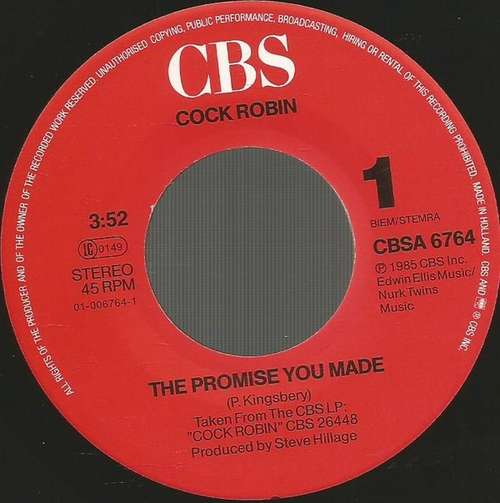Bild Cock Robin - The Promise You Made (7, Single) Schallplatten Ankauf