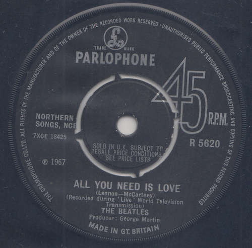 Cover The Beatles - All You Need Is Love (7, Single, Pus) Schallplatten Ankauf