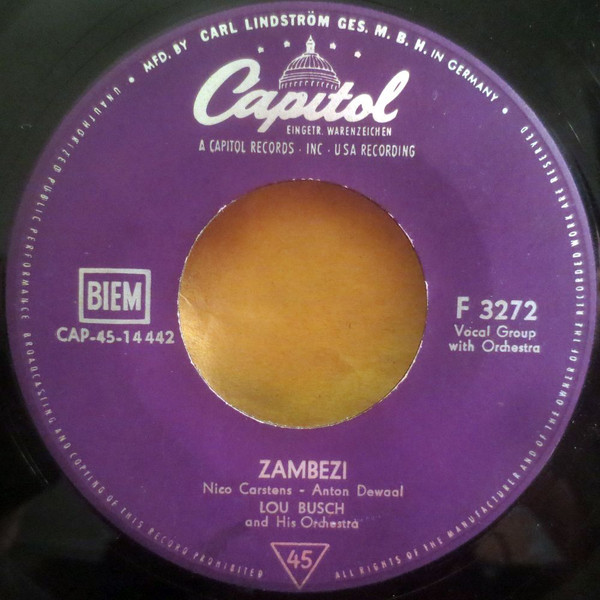 Bild Lou Busch & His Orchestra - Zambezi / Rainbow's End (7, Single, RE) Schallplatten Ankauf