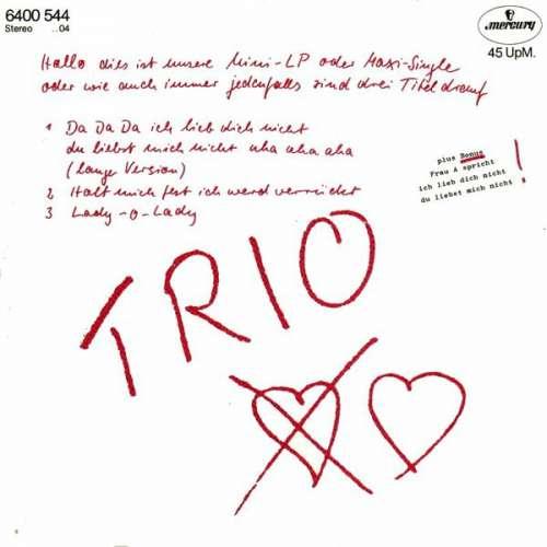 Bild Trio - Da Da Da Ich Lieb Dich Nicht Du Liebst Mich Nicht Aha Aha Aha (12, Maxi) Schallplatten Ankauf