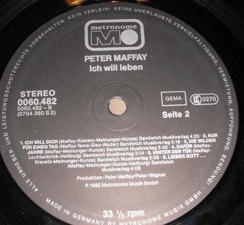 Bild Peter Maffay - Ich Will Leben (LP, Album, pap) Schallplatten Ankauf