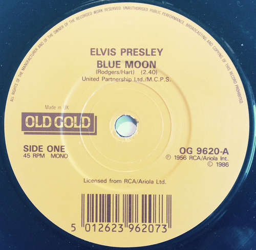Cover Elvis Presley - Blue Moon / I Don't Care If The Sun Don't Shine (7, Single, RE) Schallplatten Ankauf