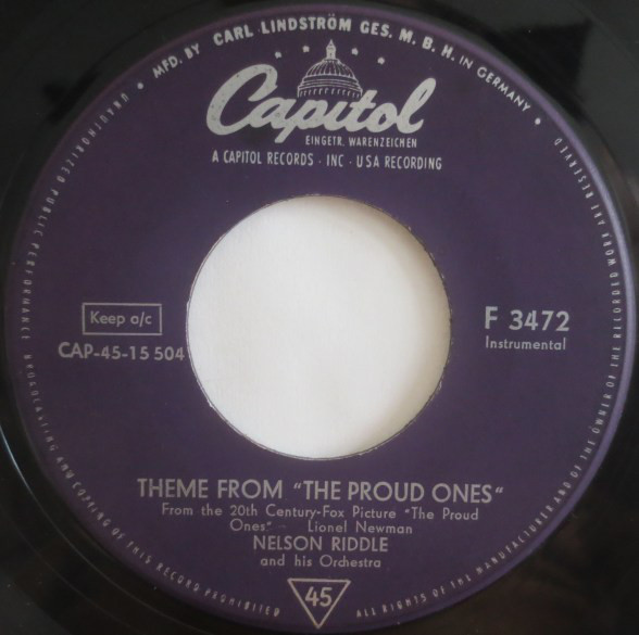 Cover Nelson Riddle And His Orchestra - Theme From The Proud Ones (7, Single) Schallplatten Ankauf