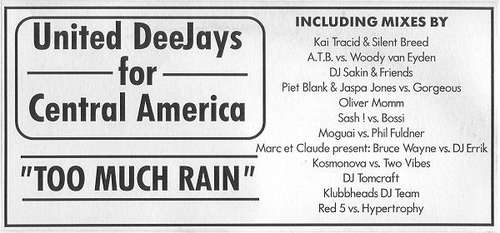 Cover United Deejays For Central America - Too Much Rain (2x12, Promo) Schallplatten Ankauf