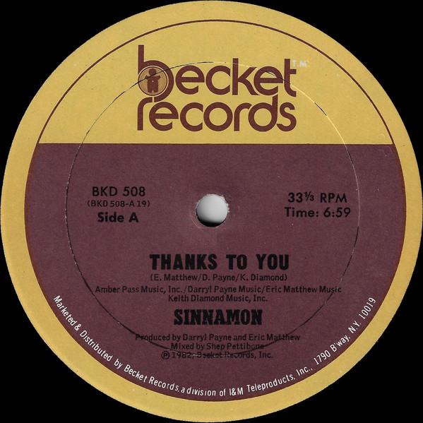 Bild Sinnamon - Thanks To You (12, Single) Schallplatten Ankauf