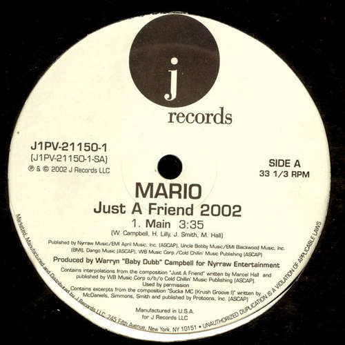 Cover zu Mario - Just A Friend 2002 (12) Schallplatten Ankauf
