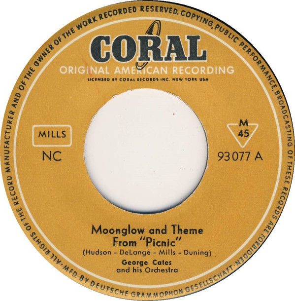 Cover George Cates And His Orchestra - Moonglow And Theme From Picnic / Rio Batucada (7, Single, RE) Schallplatten Ankauf