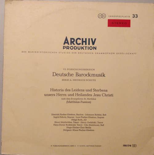 Bild Heinrich Schütz - Dietrich Fischer-Dieskau • Hugo-Distler-Chor Berlin* • Klaus Fischer-Dieskau - Matthäus-Passion (LP, Album) Schallplatten Ankauf