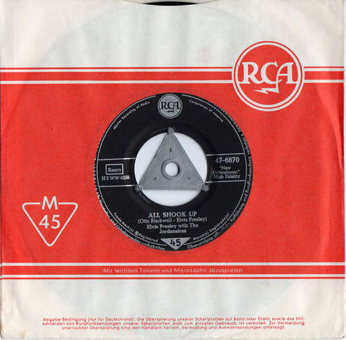 Cover Elvis Presley With The Jordanaires - All Shook Up / That's When Your Heartaches Begin (7, Single) Schallplatten Ankauf