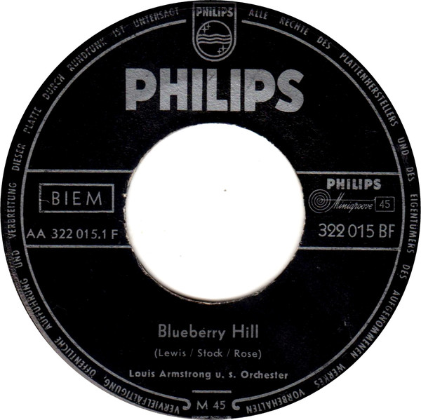 Cover Louis Armstrong U.S. Orchester* - Blueberry Hill (7, Mono) Schallplatten Ankauf