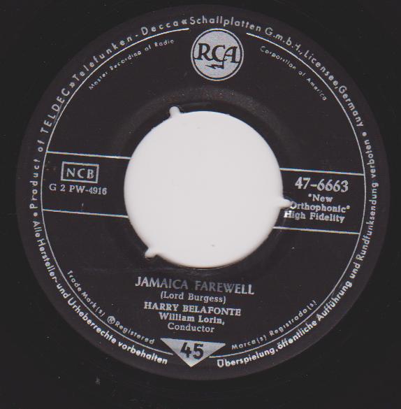 Cover Harry Belafonte - Jamaica Farewell / Once Was (7, Single) Schallplatten Ankauf