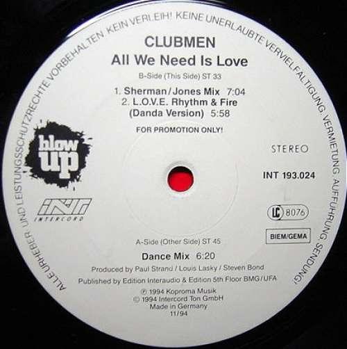Bild Clubmen (2) - All We Need Is Love (12, Promo) Schallplatten Ankauf