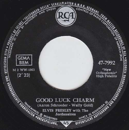 Cover Elvis Presley With The Jordanaires - Good Luck Charm (7, Single) Schallplatten Ankauf