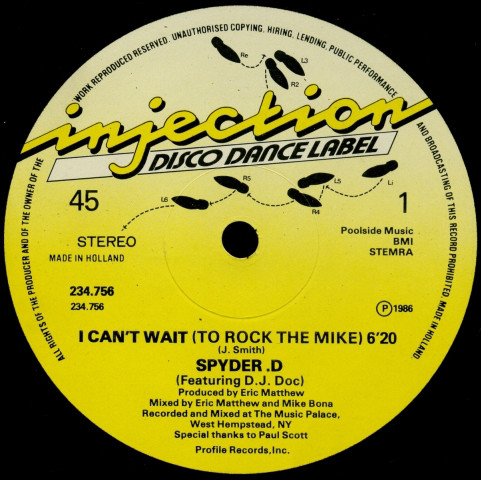 Cover Spyder-D - I Can't Wait (To Rock The Mike) (12) Schallplatten Ankauf