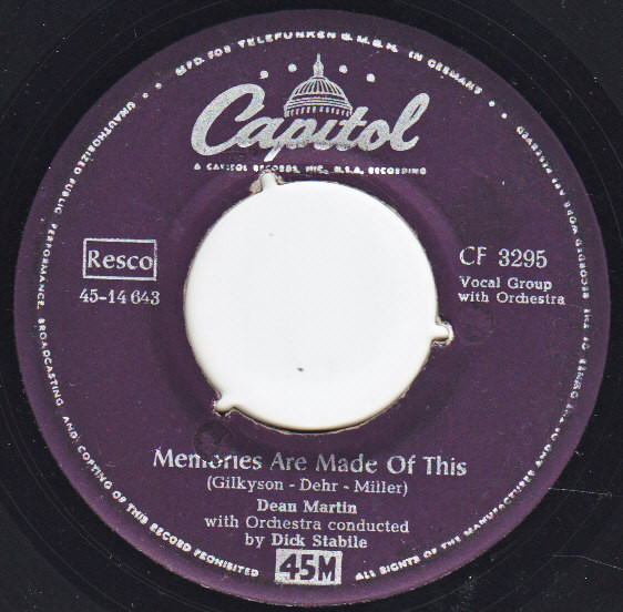 Cover Dean Martin - Memories Are Made Of This (7, Single) Schallplatten Ankauf