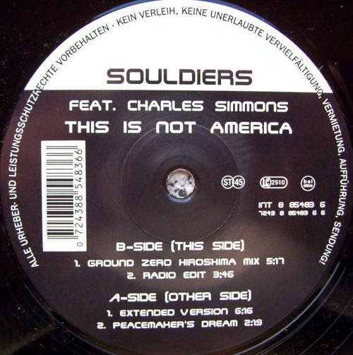 Cover Souldiers Feat. Charles Simmons - This Is Not America (12, Maxi) Schallplatten Ankauf