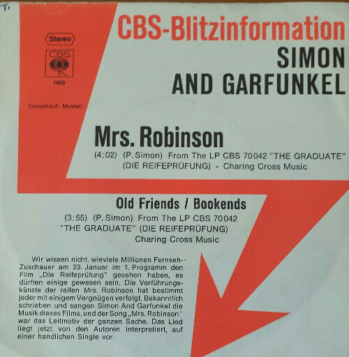Cover zu Simon And Garfunkel* - Mrs. Robinson / Old Friends/Bookends (7, Single, Promo) Schallplatten Ankauf
