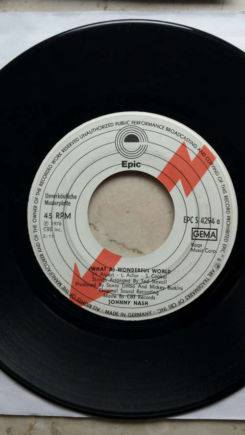 Cover Johnny Nash - (What A) Wonderful World / Ooh Baby You've Been Good To Me (7, Single, Promo) Schallplatten Ankauf